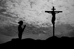 Prayer at the Cross Royalty Free Stock Photos