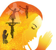 Prayer. Crucifixion and resurrection of Jesus- Christ is Risen Royalty Free Stock Photos