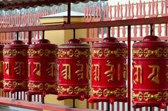 Prayer drums in St. Petersburg Buddhist temple Datsan Gunzehoynay, St. Petersburg, Russia Stock Photo