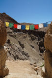 Prayer flag at Ancient fortress and Buddhist Monastery (Gompa) i Royalty Free Stock Photo