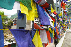 The prayer flag on a bridge in Poon Hill, Nepal Stock Photo