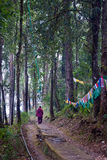 Prayer flag. A Buddhist monk is walking in a forest way beside Prayer MANTRAS flag OM Mani Padme HUM hang along a monastery path in Sikkim, India. Traditionally Royalty Free Stock Image