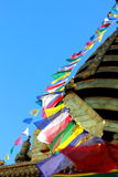 Prayer flag cord in Boudhanath Stupa Royalty Free Stock Images