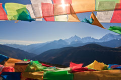 Prayer Flag and Distant mountain Stock Image