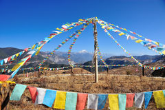 Prayer flag with mountain Royalty Free Stock Photography
