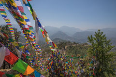 Prayer flag mountain near Namobuddha monastery. Royalty Free Stock Photo