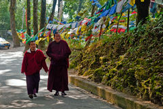 Prayer flag. Two Buddhist monks are walking in a forest way beside Prayer MANTRAS flag OM Mani Padme HUM hang along a monastery path in Sikkim, India Stock Photo