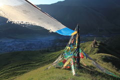 Prayer flag in the wind Royalty Free Stock Photo