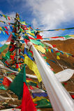 Prayer Flags. On a mountain pass Royalty Free Stock Image