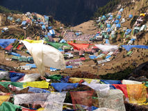 Prayer flags 2. Prayer flags over the village of Namche Bazar, in the Himalayas, Nepal Stock Image