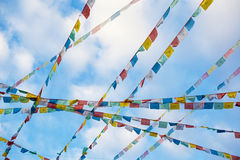Prayer flags. In the Tibet Stock Images