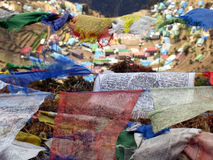 Prayer flags 3. Prayer flags over the village of Namche Bazar, in the Himalayas, Nepal Stock Photo