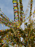 Prayer flags. Buddhist Prayer flags, Buddhist temple, Nepal Royalty Free Stock Photo