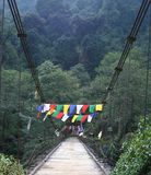 Prayer flags across a bridge, northeast India royalty free stock images