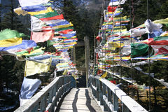 Prayer flags across a bridge Sikkim, India Stock Photos