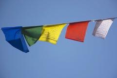 Prayer Flags against a Blue Sky. Tibetan Prayer Flags in Bir, North India Royalty Free Stock Photo