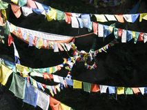 Prayer flags on black Royalty Free Stock Image