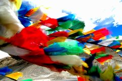 Prayer Flags-blur. Prayers Flags at Everest Base Camp One Royalty Free Stock Images