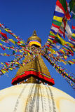 Prayer flags at the Boudhanath Stupa Stock Photography