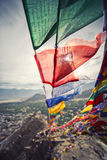 Prayer flags and City in Leh Ladakh Stock Photography