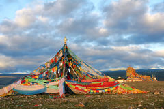 Prayer flags. The colorized prayer flags at lakeshore of Qinghai Lake in China Stock Photography