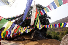 Prayer Flags Crossing Stock Photography