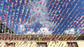 Prayer flags decorate in old town ,Shangri-la,China. stock footage