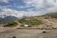 Flock of sheep and goats cross Rohtang Pass, India royalty free stock photography