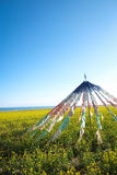 Prayer flags. The Prayer flags flys in the blue sky, this is a typical religion symbol in Tibet culture Royalty Free Stock Image