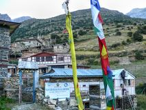 Prayer flags in Ghyaru village, Nepal Royalty Free Stock Image