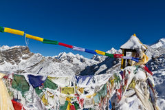 Prayer flags on Gokyo Peak Stock Photo