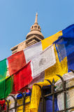 Prayer flags hanging in front of a temple. Varanasi, India Royalty Free Stock Photography