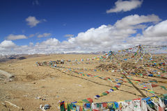 Prayer flags on high mountain pass Royalty Free Stock Images