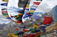 Prayer flags with Himalaya in the background Royalty Free Stock Photos