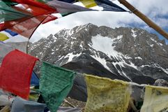 Prayer flags with Himalaya in the background Stock Images