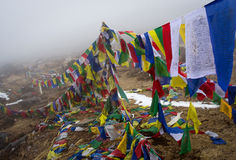 Prayer flags in the Himalaya mountains, in Nepal Stock Images