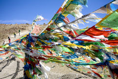 Prayer flags himalayas. Prayer flags blowing in wind Royalty Free Stock Photos