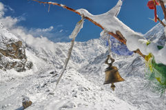 Prayer flags in Himalayas Stock Image