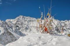 Prayer flags in Himalayas Stock Photo