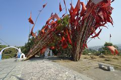 Prayer Flags in Jabalpur, India. Prayer Flags at Hanuman Temple in Jabalpur, India stock photos