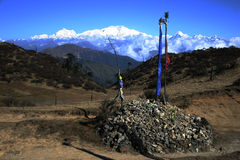Prayer flags and Kangchenjunga, northeast India Royalty Free Stock Photo