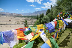 Prayer flags and ladakh valley in background Royalty Free Stock Photos