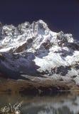 Prayer flags and lake. Under Himalyan mountain peaks with fresh snow. Reflection in lake.Gokyo valley,Khumbu Himalya,Nepal royalty free stock images