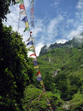 Prayer Flags in the Lower Annapurna Himalayas Royalty Free Stock Photo
