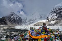 Prayer flags, Lungta on the mountain Kalapatthar 5643m against the background of  the Himalayas mountains. Stock Images