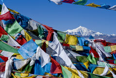 Prayer flags with mount everest, tibet Royalty Free Stock Images