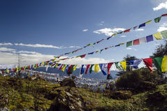 Prayer flags. In the mountain royalty free stock photos