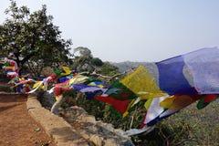 Prayer Flags Mountain Top Stock Image