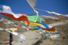 Prayer flags in mountains. Prayer flags in the Himalayas Royalty Free Stock Photos