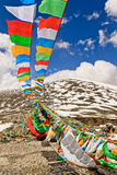 Prayer flags on mountains in Namco, Tibet Stock Photo